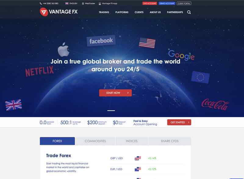 VantageFX Review - homepage