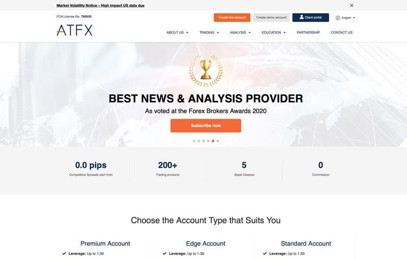 ATFX Review - homepage