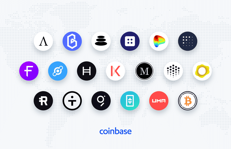 List with all Coinbase assets