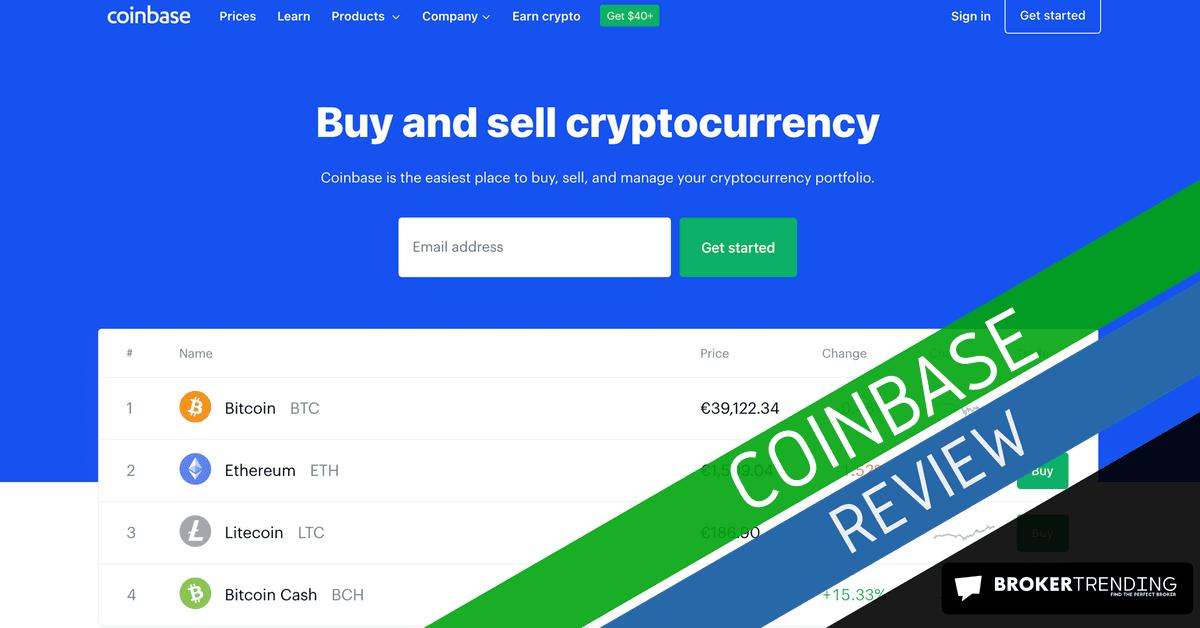 Homepage of Coinbase (screenshot)