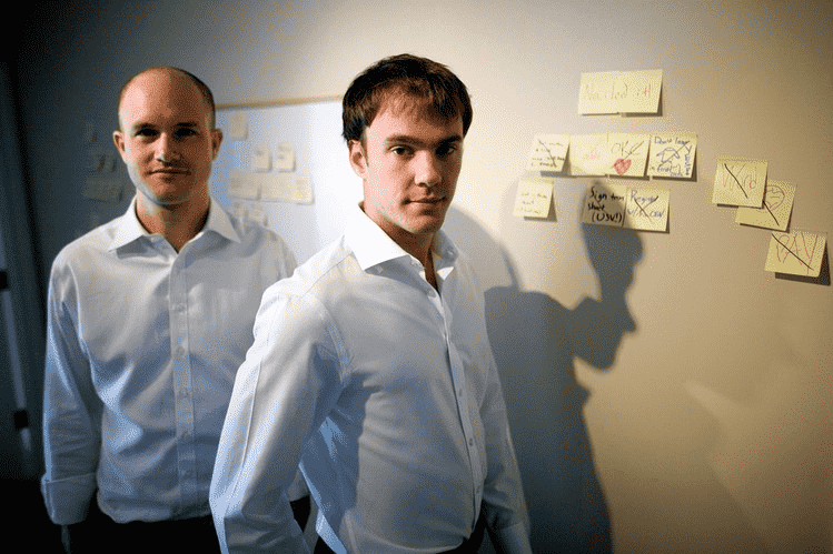 Photo of Brian Armstrong and Fred Ehrsam, Coinbase founders